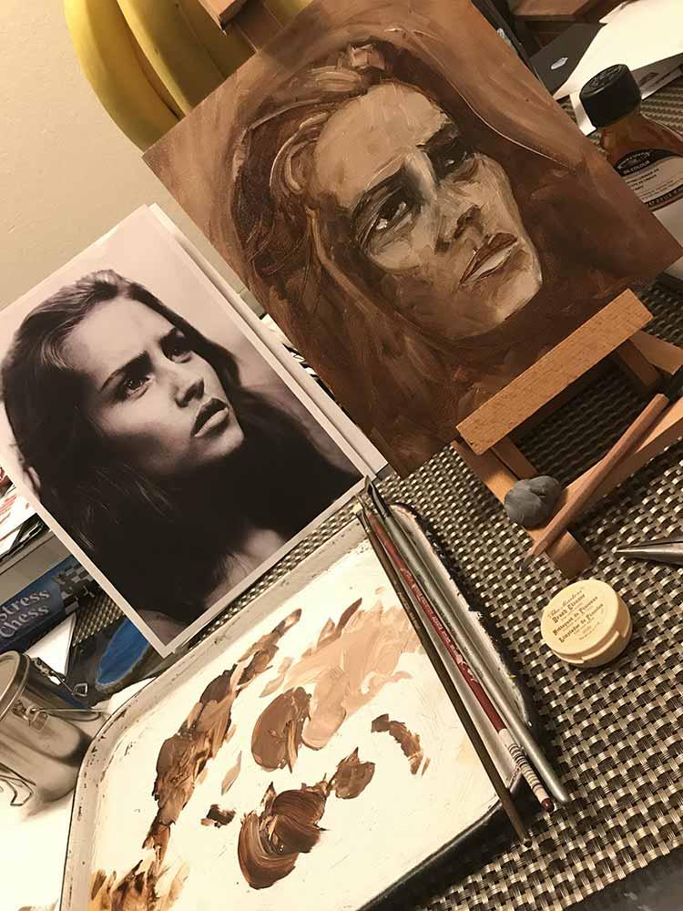 Underpainting Studies, Woman Portrait with Palette