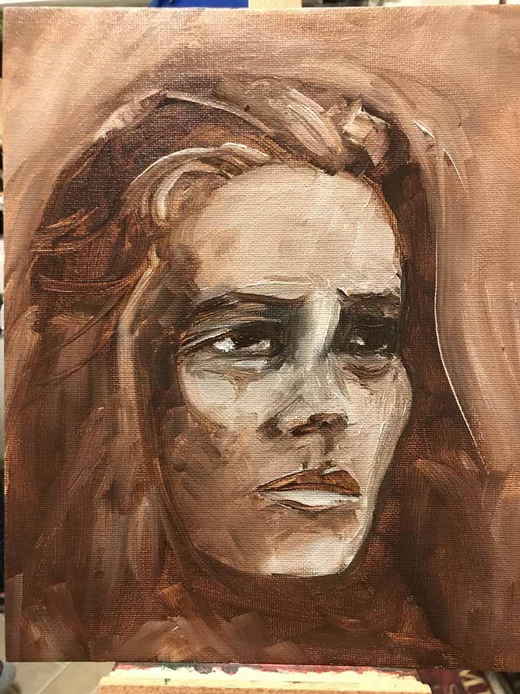 Underpainting Studies, Woman Portrait Ver. 1